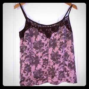 Ann Taylor Floral Silk Cami With Adjustable Straps